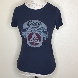 Obey Size XS Graphic Blue Short Sleeve Tee
